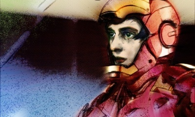 Illustration of Ayn Rand's face gazing out of the open helmet of the Iron Man suit.