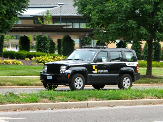Photograph of a private security vehicle patrolling near The Plaza in Kansas City.